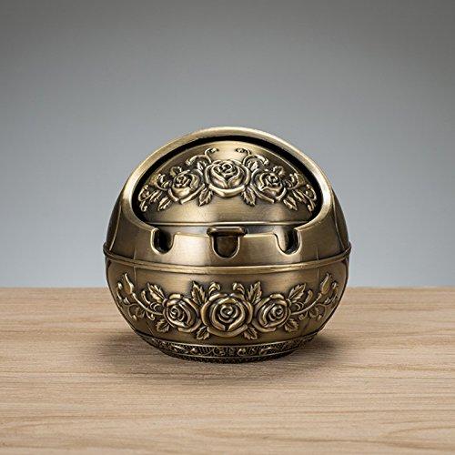 XOYOYO Den Aschenbecher Kreative Persönlichkeit Trend Multifunktionalen Europäischen Stil Wohnzimmer Mit Abdeckung Persönlichkeit Retro Metall Verzierungen, Trompete Bronze Rose
