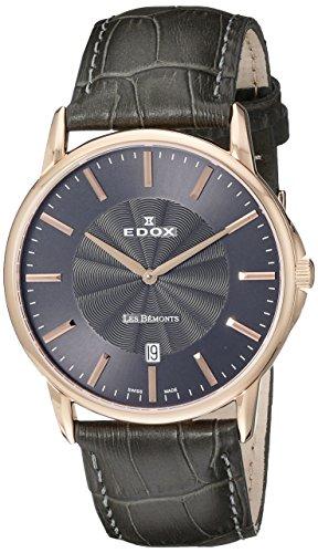EDOX Unisex-Armbanduhr EDOX LES BÈMONTS SLIMM MOVEMENT Analog Quarz Leder 56001 37R NIR