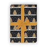 Schönes Streifen Weihnachtspapier/Geschenkpapier zu Weihnachten mit Weihnachtsbäumen im Schnee, grau schwarz, für tolle Geschenk Verpackung und Überraschungen (4 Bogen, 32 x 48cm)