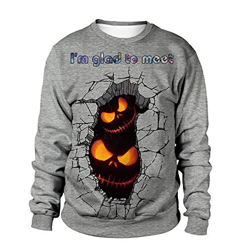 LOPILY Sweatshirt Damen Halloween Kostüme Damen Gruselig Kürbis Sweatshirts Halloween Party Tshirts 3D Pullover Damen für Halloween Ärgerliche Kürbis Tshirt Orange Halloween Hoodie (Grau, 42)