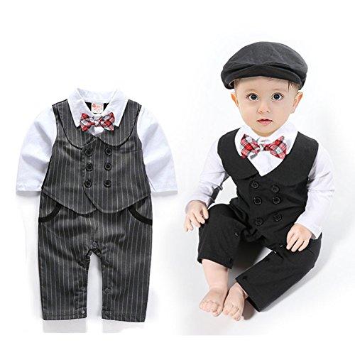 Baby Jungen Strampler Smoking Gentleman Anzug Langarm Outfits Herbst-Frühling Kleidung Jumpsuit Spielanzug Fliege Taufkleidung mit Hut (Grau, 90/9-12 Monate)