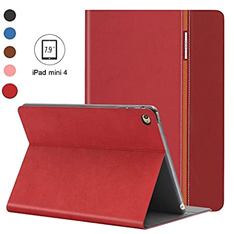 AUAUA iPad Mini 4 Hülle, iPad Mini 4 Hülle Leder Tasche Schutzhülle mit Auto aufwachen / Schlaf Funktion + Clear Schutzfolie (Gift) für Apple iPad Mini 4 Hülle Zoll Apple