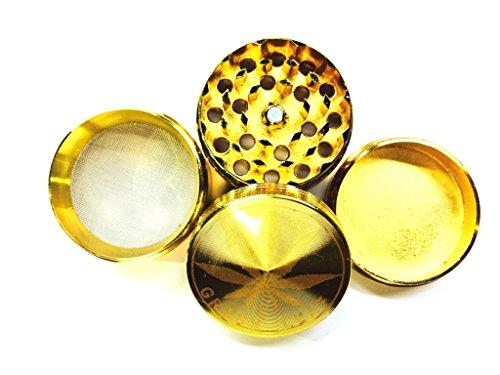 Trendz - Macina erbe in metallo, con stampa dorata, 4 parti, raccoglitore in vetro con denti di diamante, colore: oro
