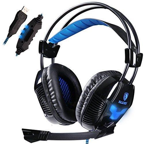 SADES SA902 7.1 Surround Sound Stereo Professionelle PC USB Gaming Headsets Stirnband Kopfhörer mit Mikrophon, Tiefe Bässe, Over-The-Ear-Lautstärkeregler LED-Leuchten für PC Gamers (Schwarz) - Nicht Gepolstert Bürostühle