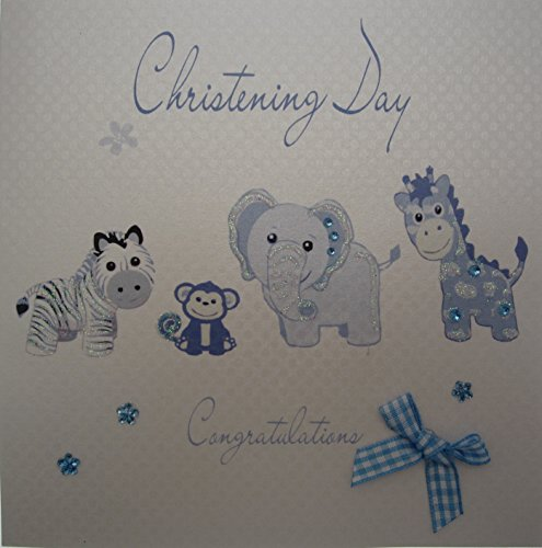WHITE COTTON CARDS  Blue Toys ``Christening Day`` Handmade Christening Card, White