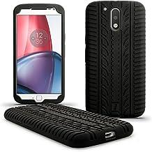 igadgitz Negro Neumático Silicona Gel Goma Funda Carcasa per Motorola Moto G 4ª Generación XT1622 (Moto G4) & Moto G4 Plus XT1644 Case Cover + Protector Pantalla