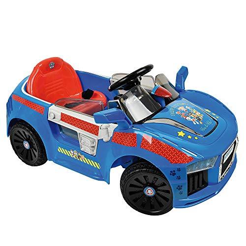 Hauck Toys Coche Eléctrico para niños diseño Patrulla Canina - Coche de batería Paw Patrol con Luces LED, cinturón y Puertas de Tijera - Azul/Rojo