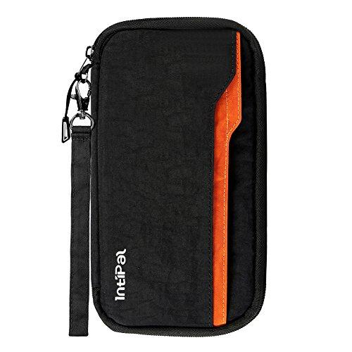 Wasserdicht Reisepass Tasche, IntiPal RFID Blocker Schutzhülle Reiseorganizer Reisepass Tasche Reisepass Mappe mit Handschlaufe für Pass Dokumenthalter Tickettasche Reisebrieftasche Ausweistasche