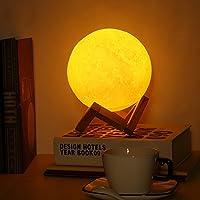 EleLight F - 06 3D Lampada Luna 6,1 in per Illuminazione e Decorazioni LED Dimmerabile Luce Notturna Romantica Controllo Tattile USB Ricaricabile con Supporto e Stringa