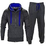 Fleece-Trainingsanzug in Kontrast-Farben mit Kordel und Reißverschluss Gr. L, Charcoal/Blau