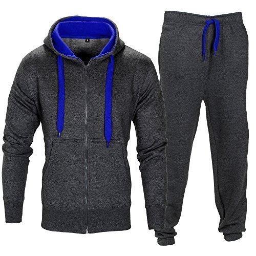 Fleece-Trainingsanzug in Kontrast-Farben mit Kordel und Reißverschluss Gr. L, Charcoal/Blau Rei Fleece Hose