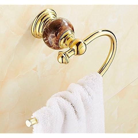 Giada asciugamano anello titolare rame oro continentale naturale marmo e acciaio inox asciugamano anello asciugamano asciugamano portasciugamani - Oro Giada Anello