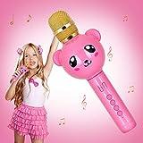 Inalámbrico Micrófono Karaoke para niños con Altavoz, Yunbaoit Micrófono Mano Profesional Karaoke Compatible con iPhone/Android/Smartphone, fiesta al aire libre Muisc cantando y grabando(Rosa)