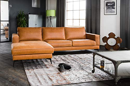 KAWOLA Sofa Bloom Recamiere Links Leder Retro Cognac