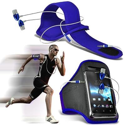 HTC Desire 610 Athlet Fitness Gym Sport Running Bike Radfahren Jogging und Fitnessstudio Ridding Arm Band Tasche Tasche & Premium-Qualität in Stereo Ohrhörer Hands Free-Kopfhörer-Headset mit Mikrofon Mic & On-Off-Taste (blau) Exclusive To Elite Accesso