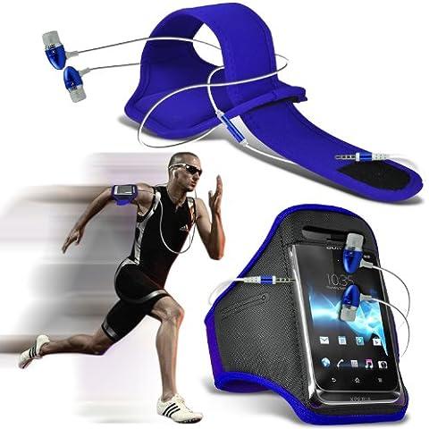 ONX3® ( Blue + Earphone ) LG G4 Caso Brazaletes Deportivos personalizados con gimnasio para correr Ciclismo Liberar Banda para el brazo cubierta con Calidad Premium en tapones auriculares manos libres estéreo auriculares con micrófono y botón de