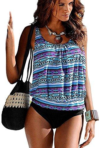 Minetom Damen Sommer Sexy Farbdruck Tankini Set Bademode Oversize Gedruckt Bandeau Bikini-Sets Oberteile + Höschen Strand Blau DE 46 (Jacke-set Tricot)