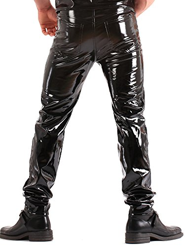28 Uomo Pvc Classici Stile Da 40 Nero Taglia Jeans Pantaloni hQrdst