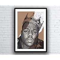 The Notorious B.I.G. Portrait Drawing with Juicy lyrics - signed Giclée art print Biggie Smalls Kunstdruck A5 A4 A3 sizes Artwork