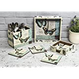 Designer Wooden Tissue Holder Cutlery Stand And Coaster Set Of 6 Pieces With Stand | For Dining Table, Home & Kitchen | Lovely Butterfly Design With Special Enamel Coating - Total Set Of 9 Pieces