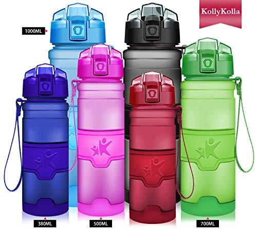 KollyKolla Sport Trinkflasche BPA-frei Auslaufsicher Wasserflasche, 1L Tritan Sportflasche Kunststoff mit Filter für Kinder, Schule, Mädchen, Wasser, Fahrrad, Gym, Yoga, Camping, Matte Dunkelrot