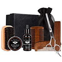 TWFRIC Beard Grooming Trimming Kit for Men Care Gift Tool/Beard Brush + L-Shaped Tool Comb+ Beard Oil (30ml) + Beard Balm Wax (30g) + Sharp Scissors for Styling + Portable Black Bag