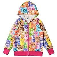 Bhome Little Girls Long Sleeve Sweatshirt Hoodie zip Jacket Coat Cute Cats Kittens