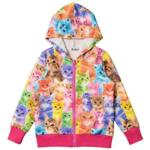 Perfashion Kinder Mädchen Reißverschluss Casual Hoodies Langarm Kapuzenjacke Jacket Top Sweatshirt