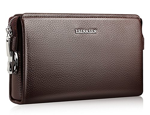 Leder Lässig Passwort Schloss männlich Handtasche Leder Brieftasche mit Tasche Männer Tasche Brieftasche (Braun)