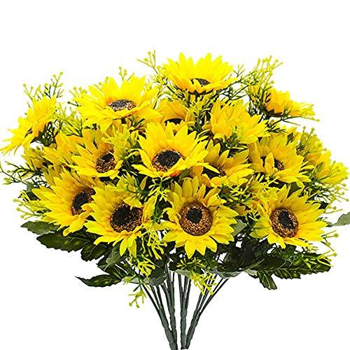 TianranRT Fake Sonnenblumen Seide Blumen Tisch Mittelstücke Arrangements Home Indoor - Kopf-tisch-mittelstücke