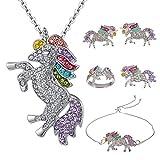 Tanersoned Unicornio Conjuntos de Joyas de Niñas, Colgante de Unicornio de Cristal Arcoíris, Pulsera, Pendientes, Anillo, Broche Pins de Unicornio para Regalo de Cumpleaños
