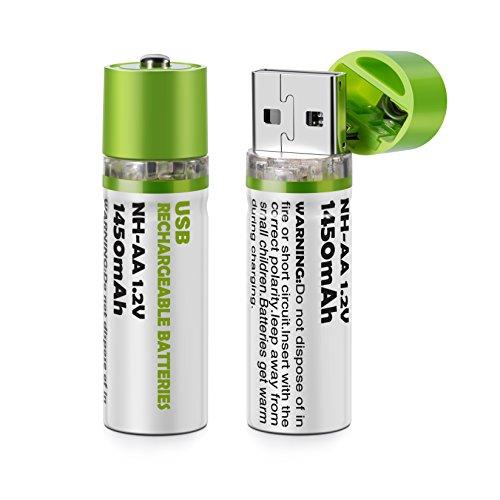 BlueBeach® USB wiederaufladbare AA Batterien Zelle NH-AA 1.2V 1450mah (2 Stück) (Usb Batterie Aa)