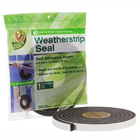 Duck Brand 1278750 Self Adhesive Foam Weatherstrip Seal for Extra Large Gaps, 3/4-Inch x 1/2-Inch x 10-Feet, 1 Roll by Duck (English Manual)