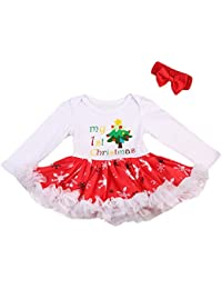 6927f1758599 Mornbaby Baby Girl's My First Christmas Romper Tutu Dress/Headband (3-9  Months
