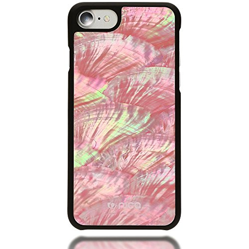 iPhone 8 / 7 Nacre Coque de NICA, Ultra-Fine Effet 3D Hard-Case Naturel Cover Housse Protection Etui, Handmade Bumper Mince Rigide pour Telephone Portable Apple iPhone 7 / 8, Couleur:Blanc Pink Rose