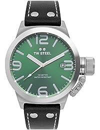 TW Steel Unisex reloj infantil de cuarzo con esfera analógica y negro correa de piel TW942