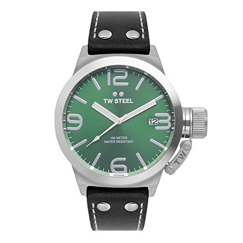 TW-Steel-Unisex-Quartz-Watch-with-Green-Dial-Analogue-Display-and-Black-Leather-Strap-TW942