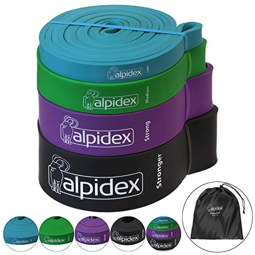 ALPIDEX Fitnessbänder Verschiedene Stärken, Farbe:Set of 4