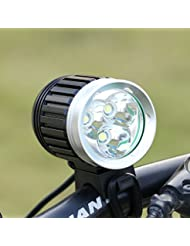 GHB Lampe VTT Lampe Vélo Eclairage LED VTT Phare Avant Vélo Puissante Rechargeable Etanche 4000 LM 3X CREE XM-L T6 de 4 Mode de lumière + 4* 18650 Batteries + Chargeur+Bandeau réglable+Phare arrière