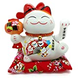 Bimbomshop Winkekatze Glückkatze Maneki Neko mit USB-Ladekabel Winkekatze aus Porzellan mit Glocken in Weiß 18 cm