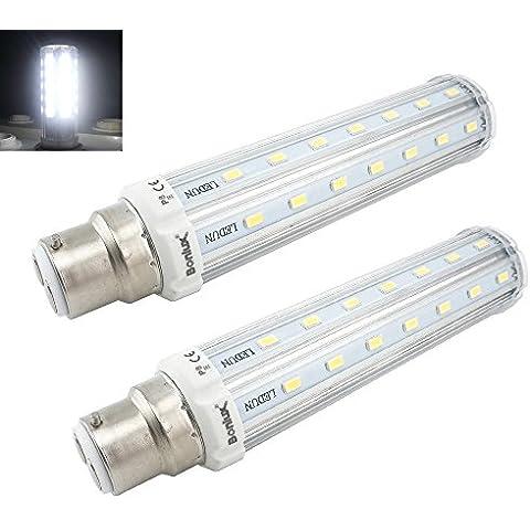 Bonlux 2-Pack 15W LED bayoneta bulbo del maíz blanco frío 6000K 360 grados ultrabrillante 5730 SMD reemplazo de bayoneta B22 lámpara halógena de 150W LED de reequipamiento