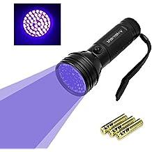 Vansky® UV Lampara 51 LED linterna de luz negra para mascotas UV Detector de manchas de orina de perro / gato eliminador de manchas, manchas secas Encuentra en alfombras, moquetas, Piso. 3 pilas AA Incluido
