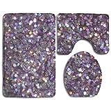 Xukmefat Glitter Sparkles Shimmer Flannel Bathroom Bath Mat 3 Piece/Set Pedestal Style Rug,Non Slip Shower Mat and Toilet Cover