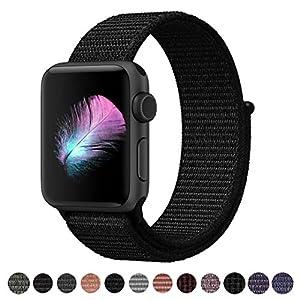HILIMNY Bracelet Apple Watch 44MM, Bracelet Sport Doux in Nylon Remplacement innovant de Fermeture à Clou Passant Apple Watch Serie 1, Serie 2, Serie 3, Sport, Edition, Hermès, Nike (Darkblack, 44MM)
