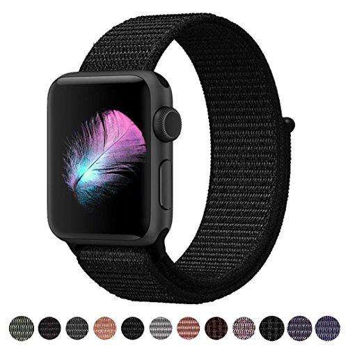 Für Apple Watch Armband 42MM, Weiches, atmungsaktives Nylongewebe mit einfach anpassbarem Klettverschluss, Ersatz für iwatch armband Series 3, Series 2, Series 1, Nike+, Edition, Hermes (Dunk Schwarz , 42MM)
