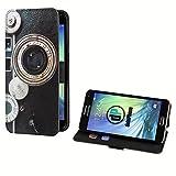 deinPhone Samsung Galaxy S5 Mini Kunstleder Flip Case Retro Kamera