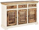 Loft24 Sideboard Landhaus 3 Schubladen 3 Türen Anrichte Schrank Wohnzimmerkommode Mangoholz Natur Weiß Lamellentür