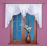Home Decor Gardinen Bogen kurz Store Vorhang knittern Voile weiß mit Kräuselband, HxB: 130x400cm, Weiß, FK0150