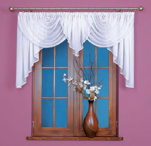 Gardinen Bogen kurz Store Vorhang knittern Voile weiß mit Kräuselband, HxB: 100x400cm, Weiß, FK0150