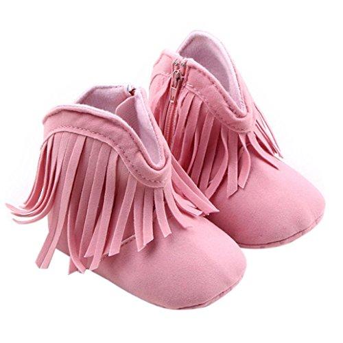 Tonsee Toddler Infant bébé fille Chaussures Semelles souples Bottes Prewalker Tassel Rose